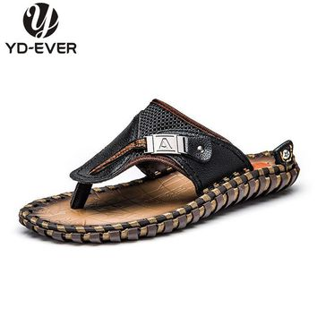 100% GENUINE LEATHER MEN SANDALS-Summer fashion brand beach slippers Men's flip flops casual moccasin Soft Loafers 958