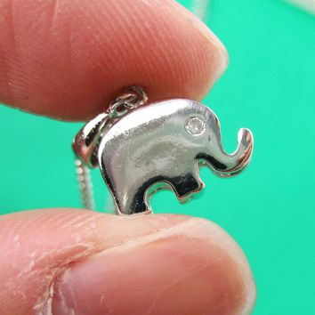 Simple Elephant Shaped Animal Charm Pendant Necklace in Silver