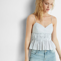 striped ruched babydoll cami