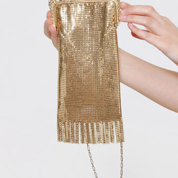 Vintage 70s WHITING and DAVIS Gold MESH Bag Flapper Purse Great Gatsby Fringe Bag Retro 20s Style Purse