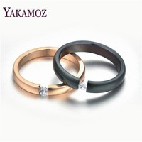 YAKAMOZ 4 Color Couple Rings with Crystal Quality Stianless Steel Rings for Women Men Size 6-12 Wedding Jewelry Gifts