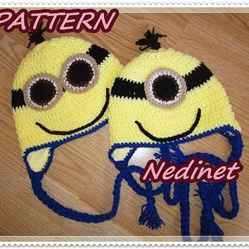 Crochet minion pattern, Minions inspirated crochet hat  PATTERN Gru Earflap Hat