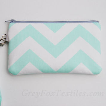 Chevron wristlet mint green, clutch, iPhone sleeve, smartphone wallet, camera case