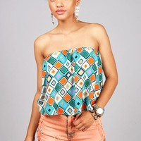 Mosaic Topping Crop Top | Cute Tops at Pink Ice