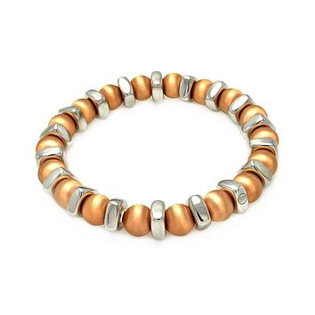 Rose Gold Over Sterling Silver 925 Stretchable Italian Bead Chain Bracelet