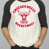 NBA Chicago Bulls Rebound Raglan with Flocking - Men's New Arrivals - Long Sleeve - Junk Food Clothing