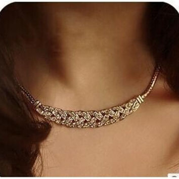 Vintage Noble Wheat Ear Full Rhinestone Short Necklace Choker Necklace Chunky Crystal Vintage Jewelry fashion N120