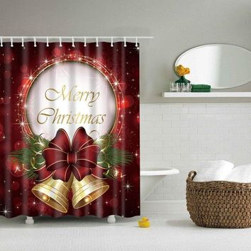 Christmas Bell Waterproof Bathroom Shower Curtain
