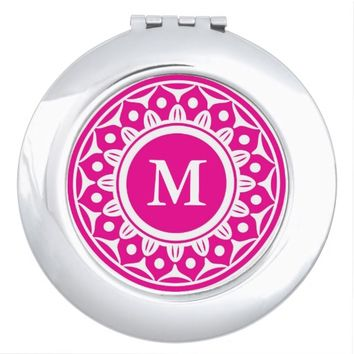 Bright Pink Floral Pattern Monogrammed Mirror For Makeup