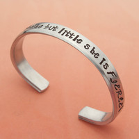 Girls Personalized Bracelet, Though She Be But Little She Is Fierce