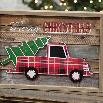 Christmas Vintage Truck Wooden Sign