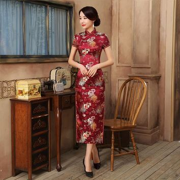 Red Long Slit Floral Silk Long Cheongsam One-piece Chinese Qipao Dress