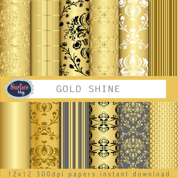 Gold Digital Paper GOLD SHINE Gold Christmas paper, Gold damask White Damask, Gold background paper for use as Blog backgrounds. Gold paper.
