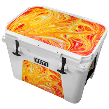 Red and Orange Finger Paint Design Skin for the Yeti Tundra Cooler