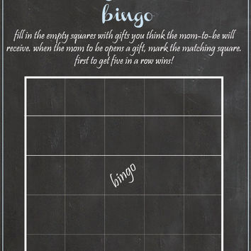 Baby shower Bingo Game chalk baby shower digital file instant download diy boy baby shower