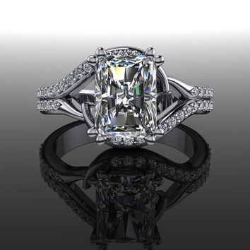 Forever Brilliant Moissanite and Diamond Engagement Ring Radiant Cut 2.04 CTW