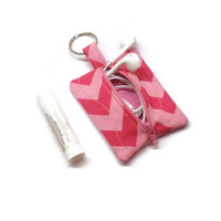 Pink chevron small zippered pouch keychain, earbuds case, lip balm bag, under 15 gift, stocking stuffer, small coin purse, backpack tag