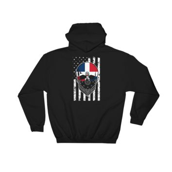 Dominican Skull + American Flag - Hooded Sweatshirt