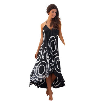 Women Dress Print Halter Sleeveless Deep V Nexk Party Long Beach Dress Vestido Plus Size CF