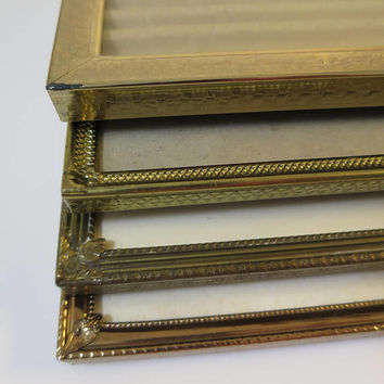 Vintage 4 Metal Photo Frames 8 x 10  inch Photo Gold Finish Hollywood Regency Frame Group Desk Top Tabletop French Home Decor