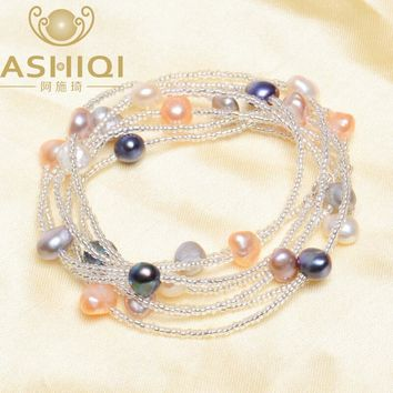 ASHIQI Baroque Pearl bracelets for women 925 sterling silver Clasp Crystal Beaded Bracelets & Bangles Natural freshwater pearl