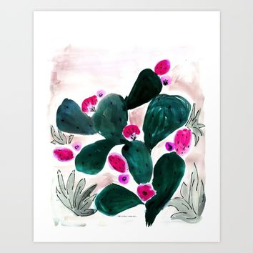 Prickly Pear Cactus Art Print by CRYSTAL WALEN