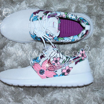 Nike Roshe Run White Bold Berry White Platinum with Gradient White Pink  Swarovski Crys 62527b44e3