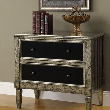 A.M.B. Furniture & Design :: Living room furniture :: Hall trees & Console tables :: Gold and black finish wood 2 drawer hall entry table console with 2 drawers black mirrored drawer fronts
