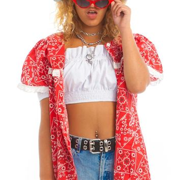Vintage 70's Country Bb Bandana Button-Up - One Size Fits Many