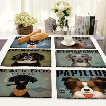 Cartoon Dog Printed Napkin Linen Style Plate Coffee Table Decoration Western