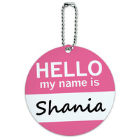 Shania Hello My Name Is Round ID Card Luggage Tag