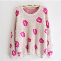 Sexy Lips Print Knitted Sweater
