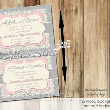 Burlap Lace Pink Gray Baby Shower Invitation - 4x3 insert card - book insert - Baby Girl - Baby Shower - 2 per 4x6 Printable Design