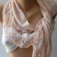 Salmon Pink - Elegance  Shawl / Scarf with Lacy Edge,