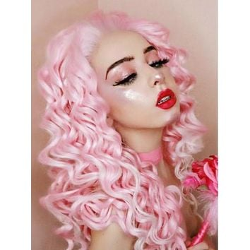 Long Pink To White Ombre Curly Synthetic Lace Front Wig