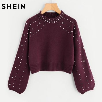 SHEIN Bishop Sleeve Pearl Beading Crop Sweater Burgundy Woman Sweater Pullovers Autumn Long Sleeve Elegant Pullovers