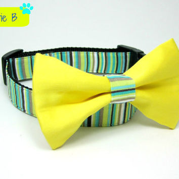 Green stripe Dog Collars with bow tie set (Mini,X-Small,Small,Medium ,Large or X-Large Size)- Adjustable