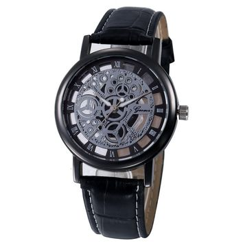 Skeleton face mens leather band professional dress watch analog style