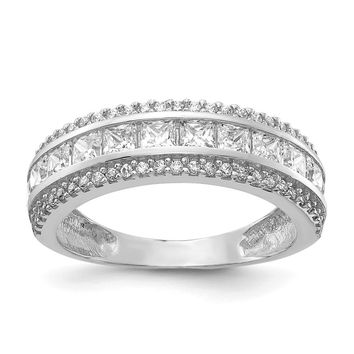 10K White Gold Tiara Collection White Gold Polished CZ Ring