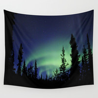 Aurora Borealis Wall Tapestry by 2sweet4words Designs