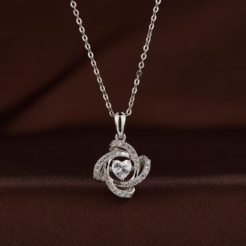 Four Folded Petal Swarovski crystal necklace