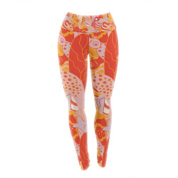 "Akwaflorell ""Fishes Here, Fishes There"" Orange Red Yoga Leggings"