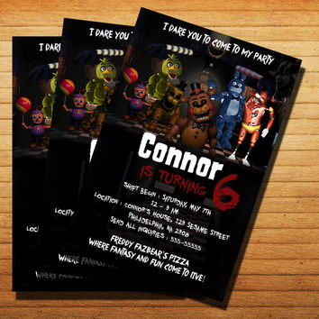 Five Night At Freddy's Invitation Cards 4x6, 5x7, Customized