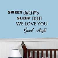 Wall Decals Quotes Vinyl Sticker Decal Quote Sweet DREAMS Sleep TIGHT WE LOVE YOU Good Night Phrase Home Decor Bedroom Art Design Interior NS78