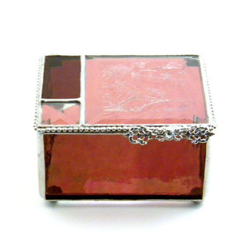 "Raspberry Pink Stained Glass 3 x 4"" Jewelry Box, Home Decor, Keepsake Box, Bridesmaid Gift, Mother's Day Gift"