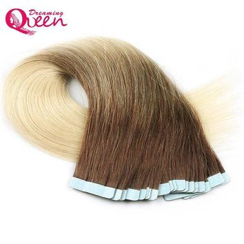 LMF78W T3/613 Blonde Color Tape In Human Hair Extensions Brazilian Straight Remy Hair Skin Weft 50g 20pcs/Set Dreaming Queen Hair
