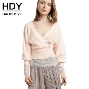 HDY Haoduoyi 2017 Fashion Sweater Women Casual Lantern Sleeve Single Breasted Cardigans Solid Pink Thin Net Deep V-neck Sweaters