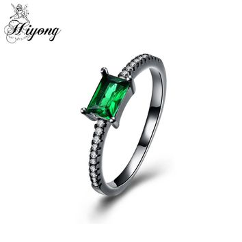 HIYONG Slight Teeny Tiny Cushion Cut Green Cubic Zirconia Skinny Eternity Band Ring Half Micro Pave Setting Everyday Jewellry