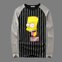Winter Cartoons Stripes Long Sleeve T-shirts Couple Bottoming Shirt [6542274179]