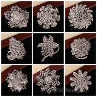 1pc Rhinestone Crystal Wedding Bridal Bouquet Flower Pearls Brooch Pin Wholesale